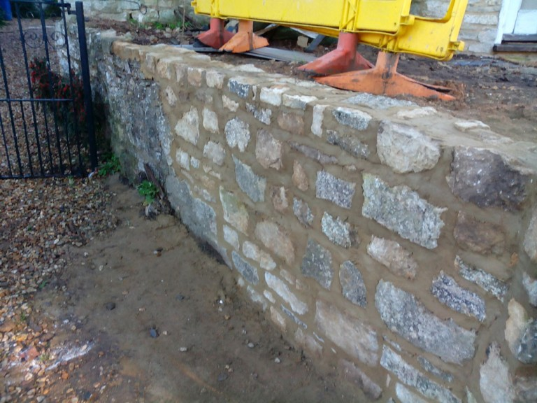 Random Stone Garden Wall Repair In Syresham Northamptonshire
